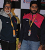 Amitabh Bachchan and Abhishek Bachchan at U Mumbai v/s Jaipur Pink Panthers PKL Match Photo Gallery